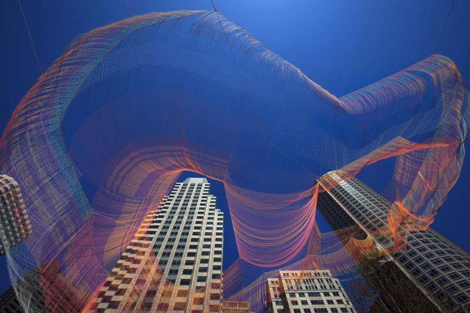 The new aerial sculpture by artist Janet Echelman is suspended above the Rose Kennedy Greenway.