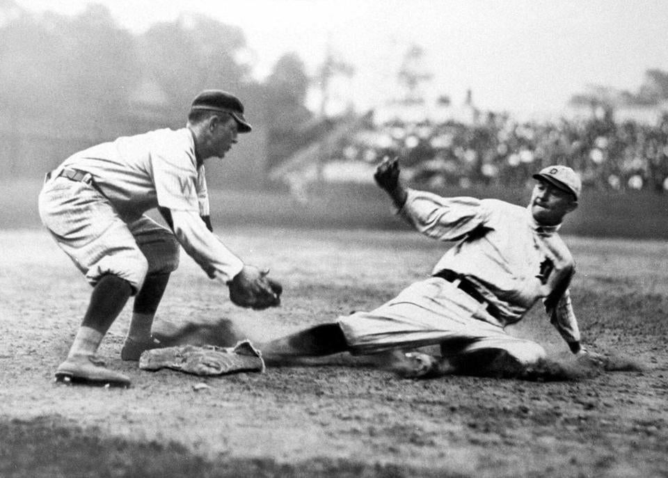 Ty Cobb of the Detroit Tigers is shown sliding in this undated file photo.
