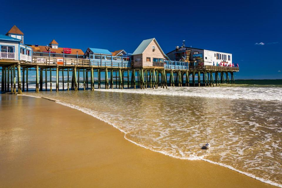 The Atlantic Ocean and pier in Old Orchard Beach, Maine.; Shutterstock ID 231671377; PO: orchard beach