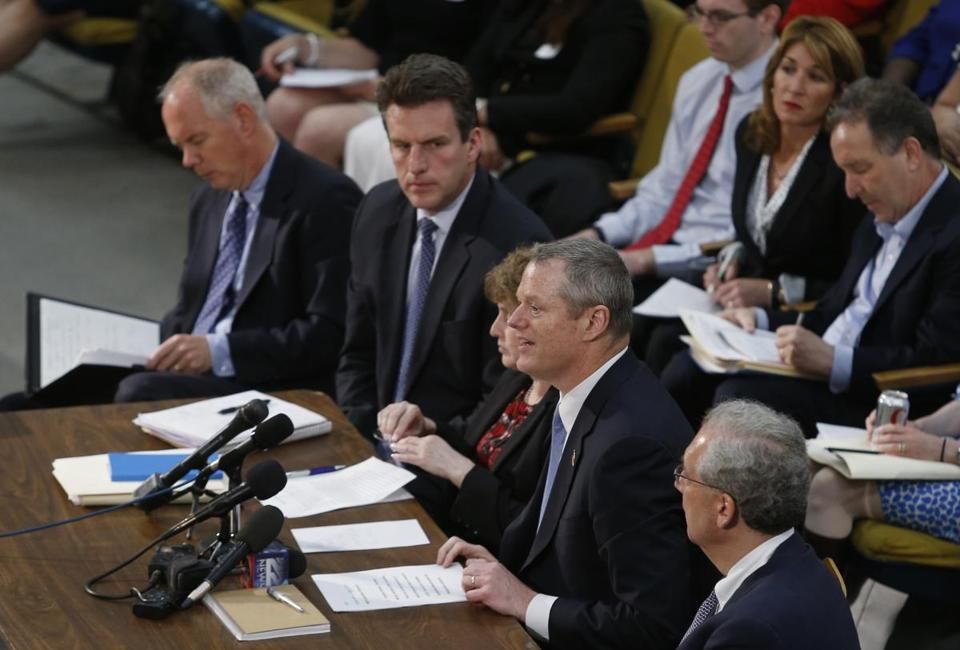 Governor Charlie Baker testified in support of the MBTA overhaul bill at the State House earlier this month.