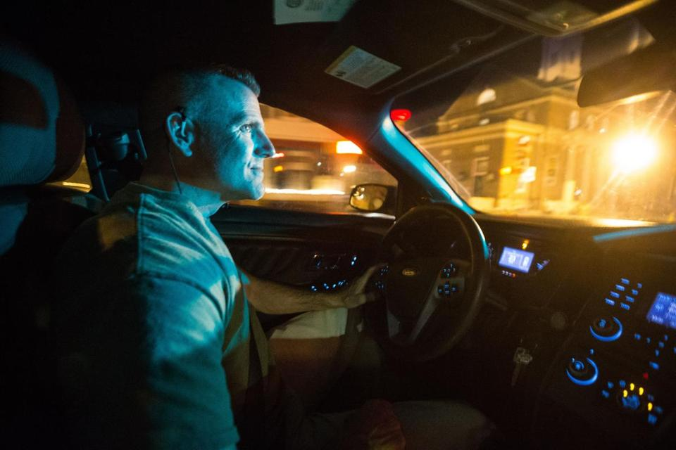 05/07/2015 PLYMOUTH, MA Plymouth Police Patrolman Ged Driscoll (cq) watches for drug related activity from his unmarked car in Plymouth. (Aram Boghosian for The Boston Globe)