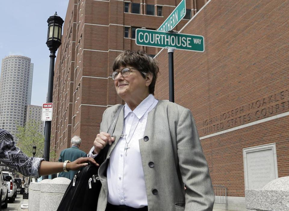 Death penalty opponent Sister Helen Prejean left court after testifying during the penalty phase in Dzhokhar Tsarnaev's trial.