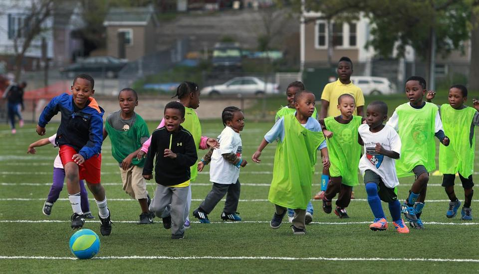 Children participated in an practice session run by Global Premiere Soccer at Mattapan's Hunt-Almont Park. The academy's inner-city  program focuses on neighborhoods which lack organized soccer opportunities.