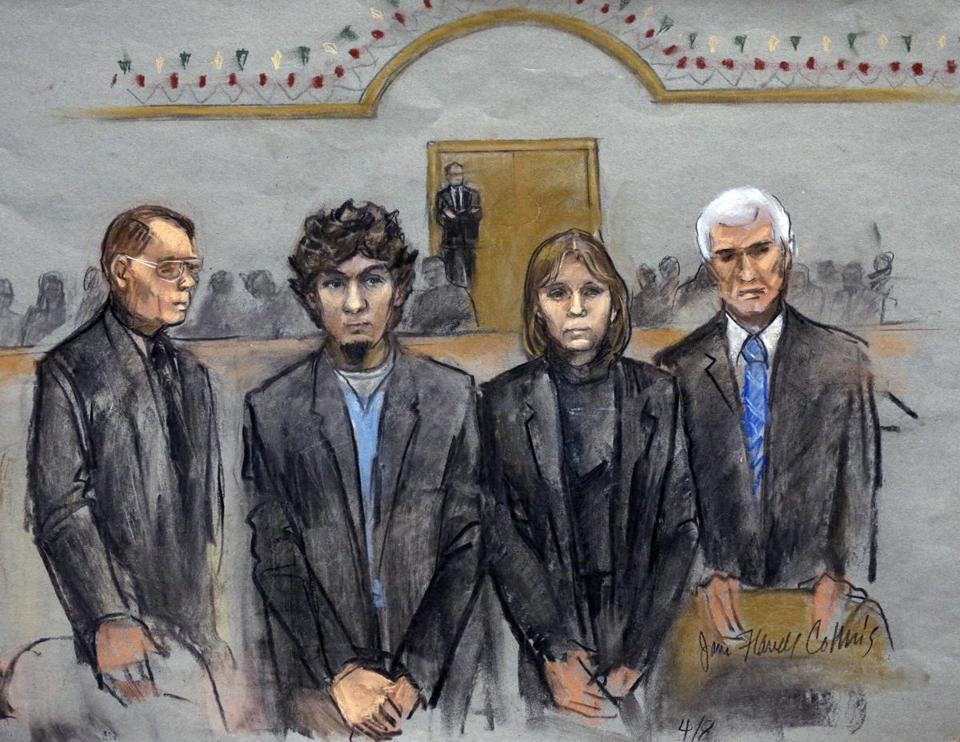 Dzhokhar Tsarnaev (second from left) is depicted with defense attorneys William Fick (left), Judy Clarke (second from right), and David Bruck as the jury presented its verdict on April 8.