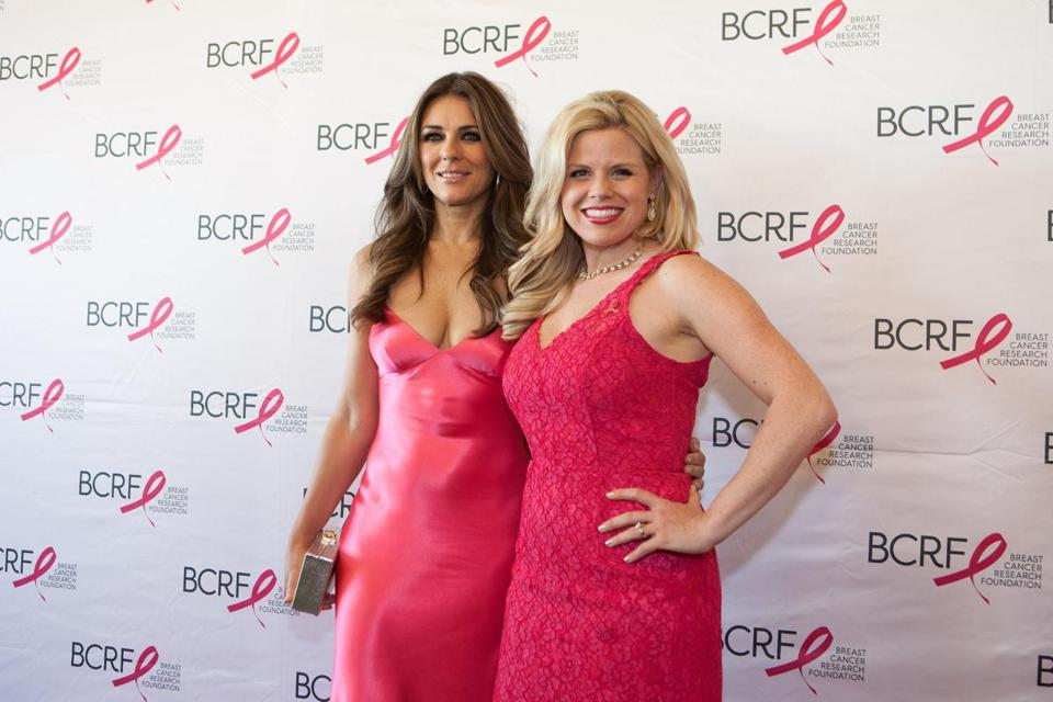Elizabeth Hurley (left) and Megan Hilty at the Hot Pink Party at the Seaport World Trade Center.
