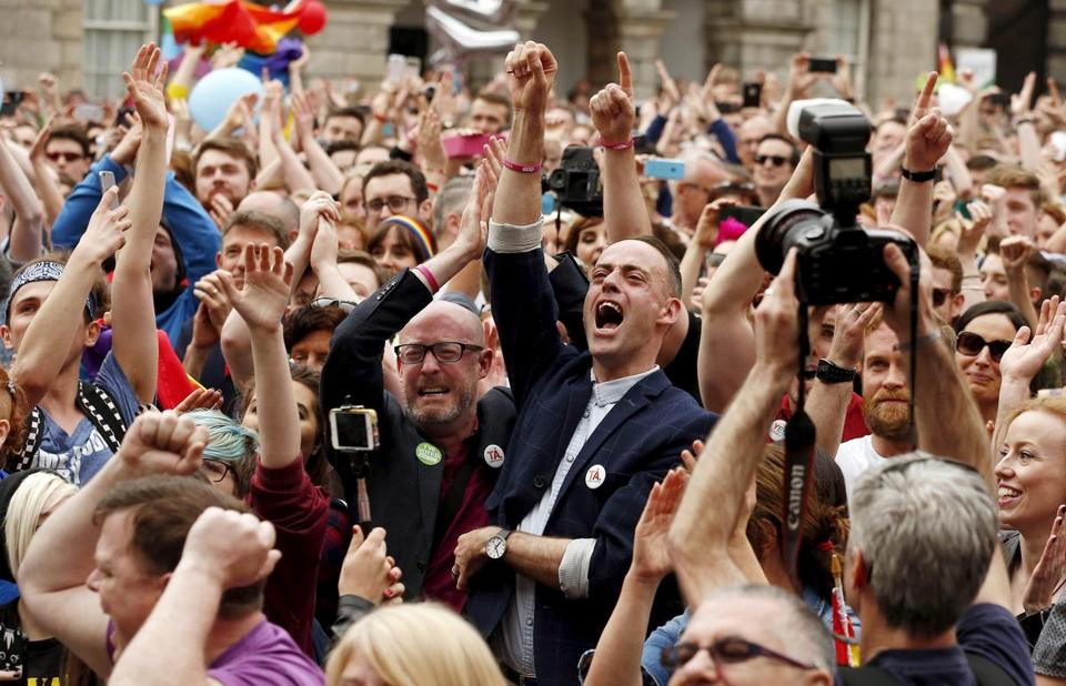 People in Dublin cheered Saturday as Ireland voted in favor of allowing same-sex marriage in a historic referendum.