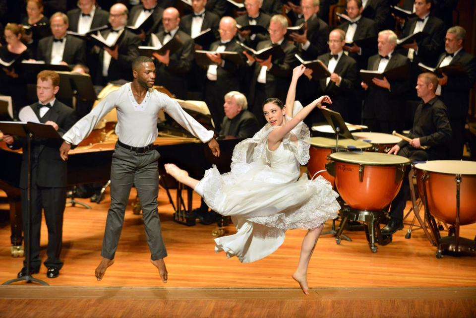 Tony Tucker and Stephanie Boisvert of BoSoma Dance performing with Chorus pro Musica Saturday at Jordan Hall.