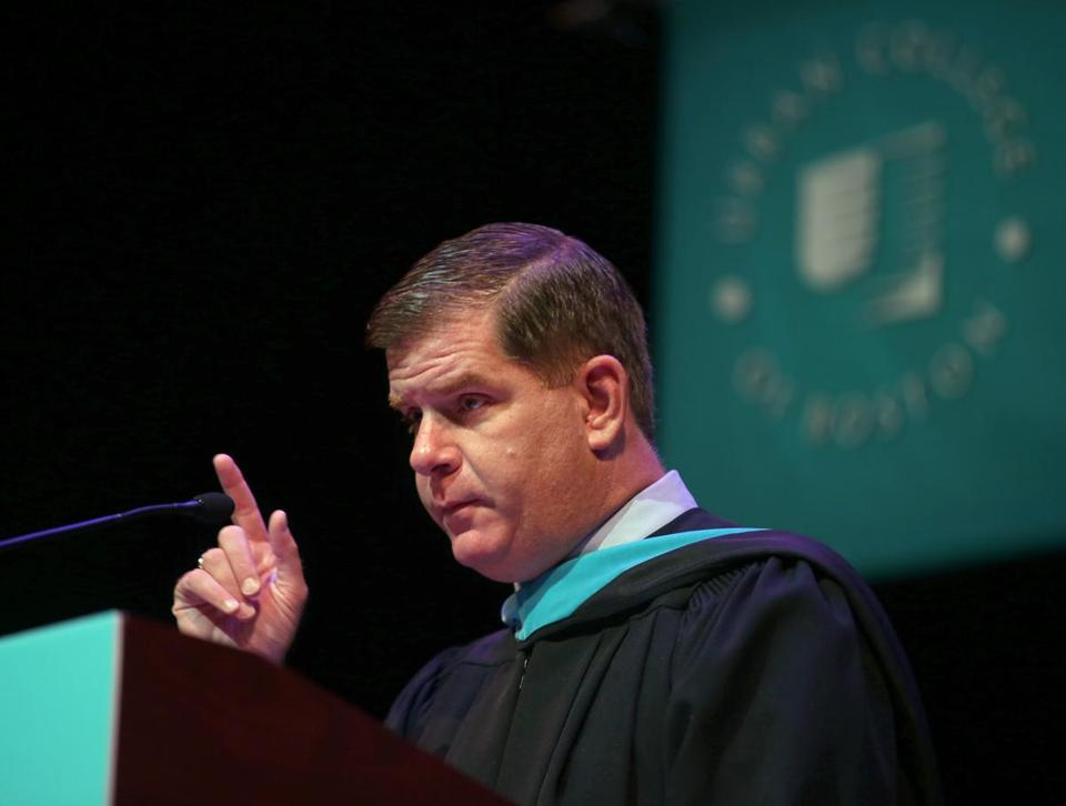 Mayor Martin J. Walsh delivered the commencement address at the Urban College of Boston.