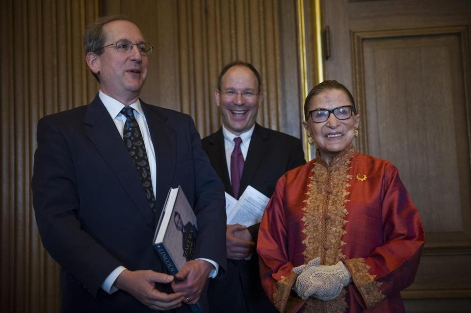 Justice Ruth Bader Ginsburg with Brandeis president Fred Lawrence (left) and David Bunis, the university's vice president.