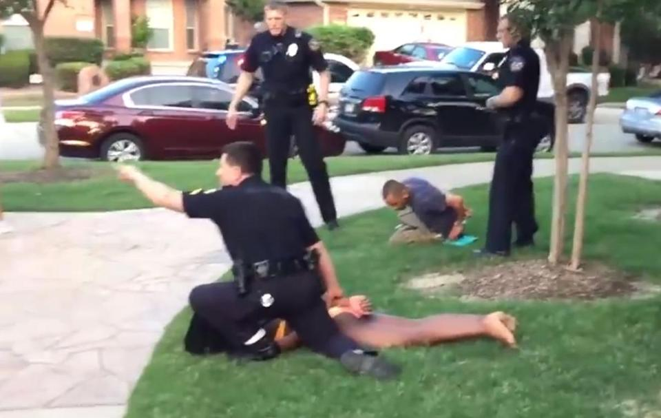 An officer reacted as Officer Eric Casebolt held down a girl in a bikini in the controversial McKinney, Texas, arrest.