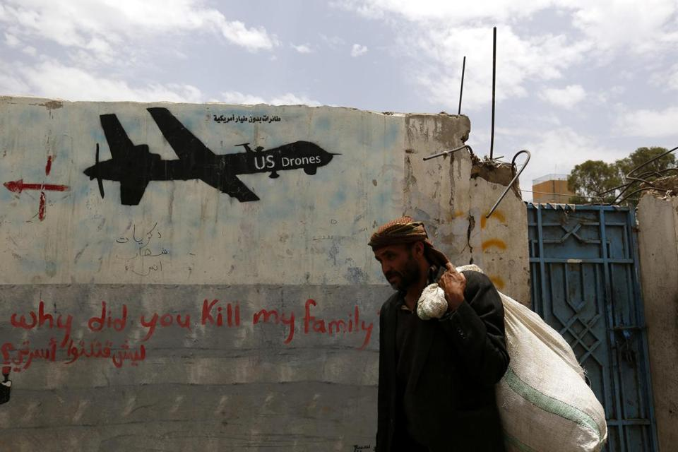 Graffiti showing a US drone marked a wall in Sanaa, Yemen. Nasir al-Wuhayshi had led the local Al Qaeda affiliate since 2002.