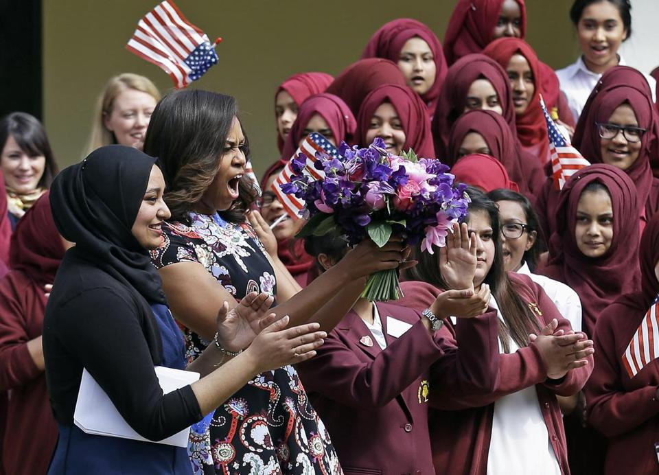 Michelle Obama received an enthusiastic welcome Tuesday.