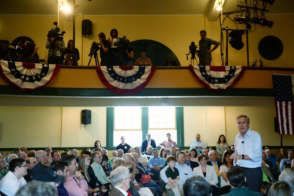 Jeb Bush spoke at Adams Memorial Opera House in Derry, N.H., on Tuesday after announcing his presidential bid the day before.
