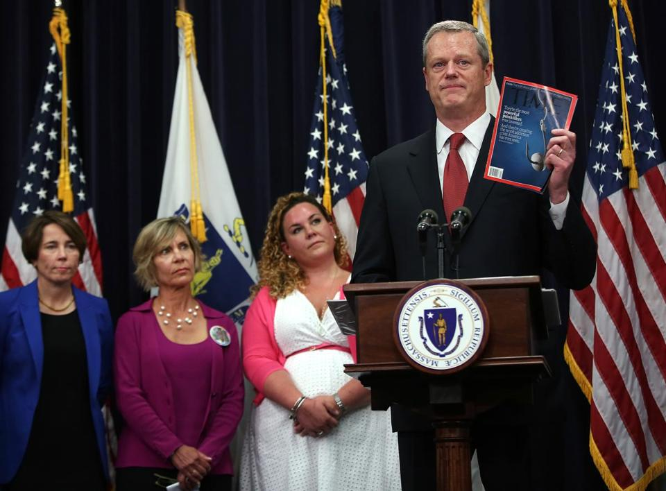 Governor Charlie Baker cited a Time magazine cover story during a press conference announcing the findings of his Opioid Working Group.