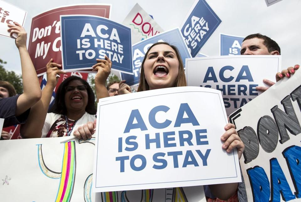 Supporters of the Affordable Care Act celebrated after the US Supreme Court upheld the law in a 6-3 vote Thursday.