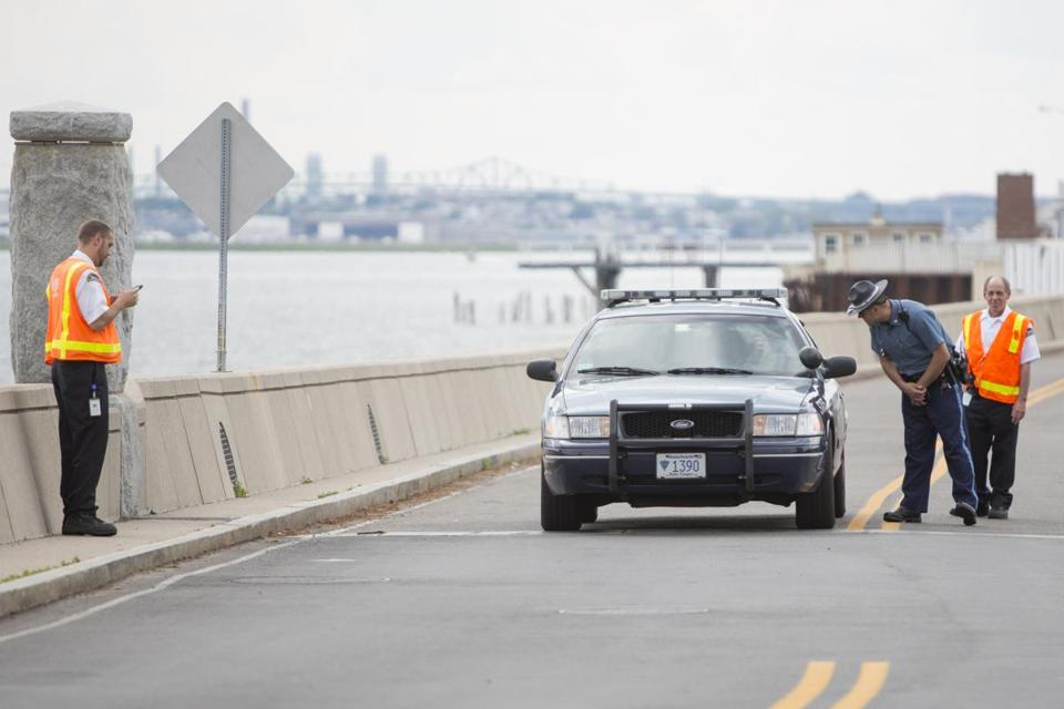 State Police and security personnel were posted a checkpoint on Deer Island after a toddler's remains were found on the shoreline Wednesday afternoon.