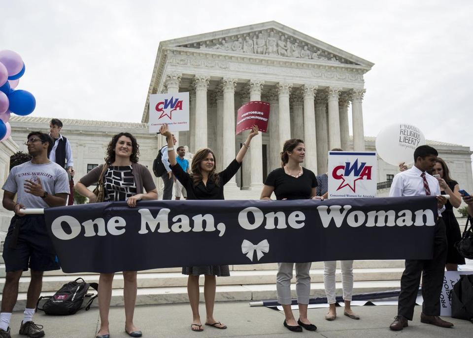 Same-sex marriage opponents rallied in front of the Supreme Court on Friday.