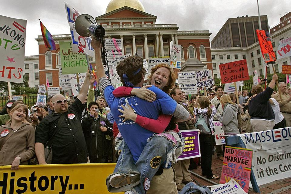 Same-sex supporters celebrated after the state Legislature voted against a ballot question to ban gay marriage in 2007.