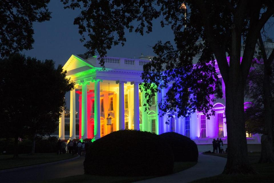 The White House was lit with rainbow colors on Friday night after the Supreme Court's decision to legalize same-sex marriage.