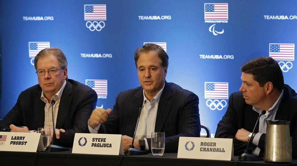 (Left to right) US Olympic Committee chairman Larry Probst, Boston 2024 chairman Steve Pagliuca, and Boston 2024 vice chair Roger Crandall spoke Tuesday in Redwood City, Calif.