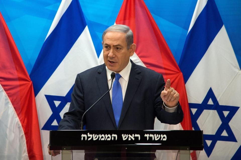 Israeli Prime Minister Benjamin Netanyahu spoke Tuesday during a news conference in Jerusalem.
