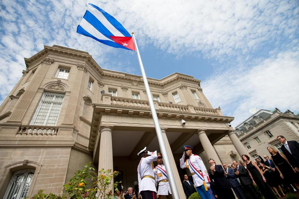 The Cuban flag over the country's new embassy in Washington on Monday.
