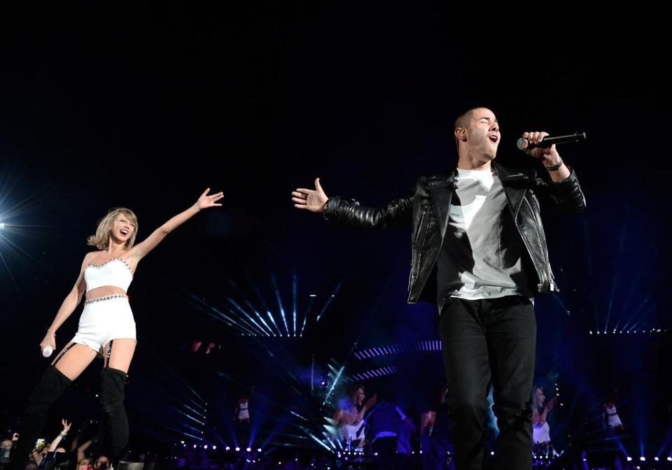 Taylor Swift performed with Nick Jonas during her tour stop in East Rutherford, N.J., on July 11.