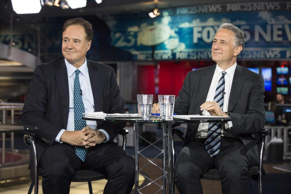 Boston 2024 chairman Steve Pagliuca (left) and Boston 2024 board member Daniel Doctoroff participated in a televised debate on July 23.