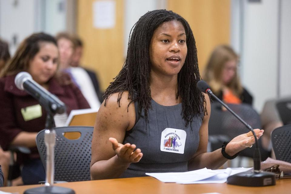 Lydia Edwards during a 2015 hearing at the Attorney General's office in Boston.