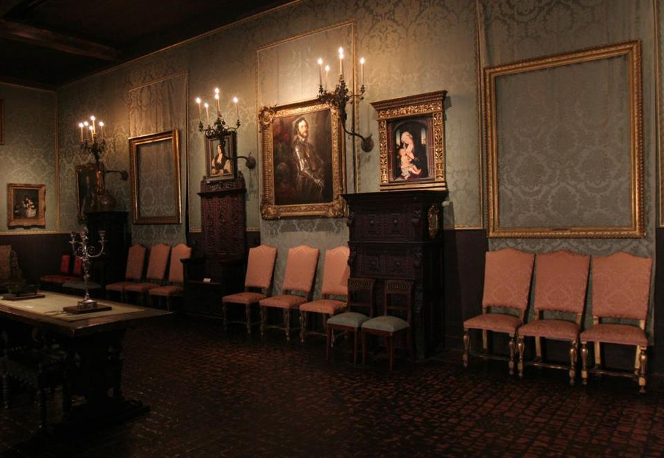 Empty frames in the Isabella Stewart Gardner Museum remain where the stolen paintings were once displayed.