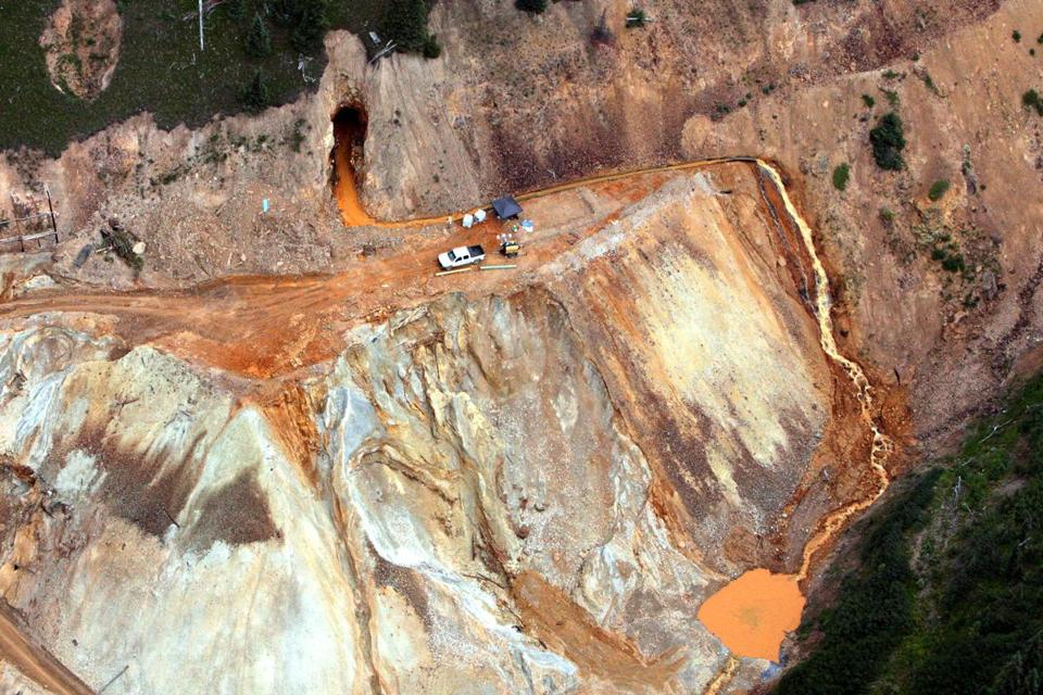 Waste water streamed out of the Gold King Mine in Colorado on Aug. 11.