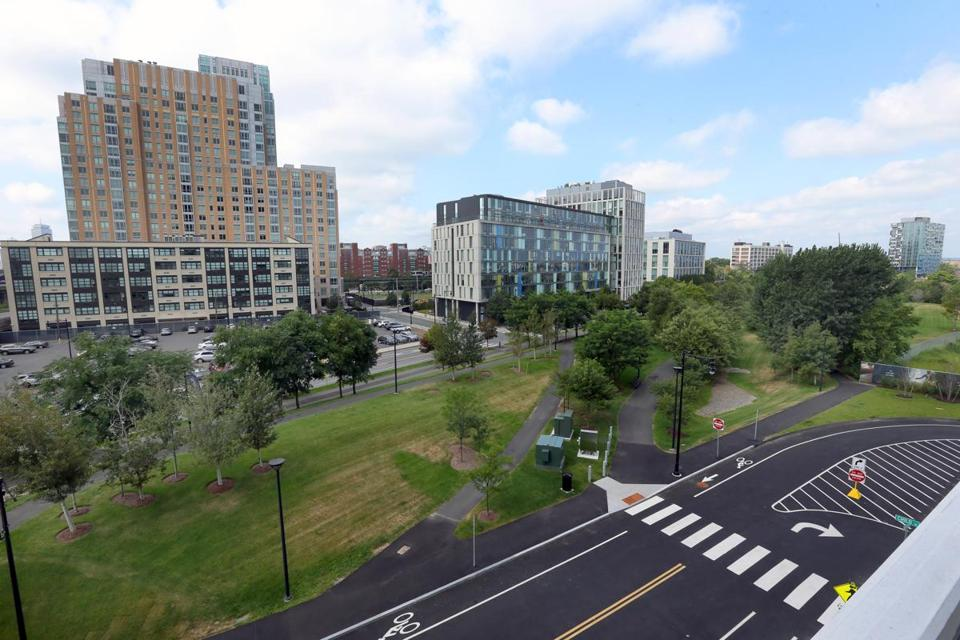 A few buildings have been built on the NorthPoint parcel in East Cambridge, but much of its 42 acres between Route 28 and Interstate 93 remain undeveloped.