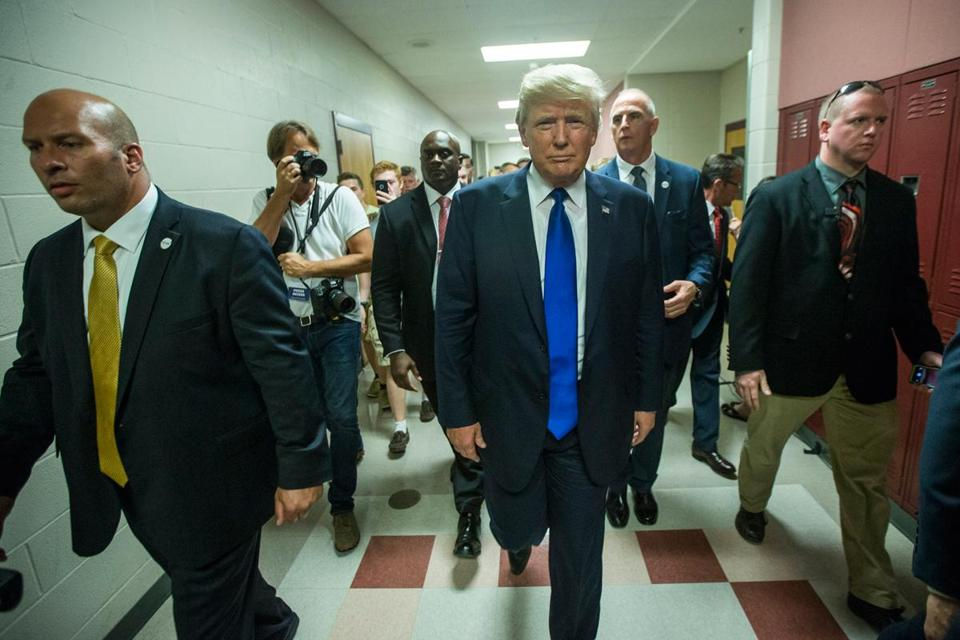 Donald Trump left a town hall meeting in Derry, N.H. on Wednesday.