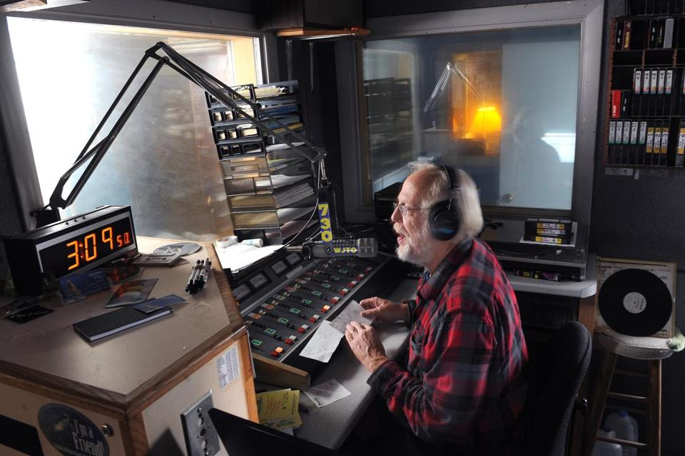 Bob Bittner runs the Cambridge radio station WJIB and others from a remote location in West Bath, Maine.