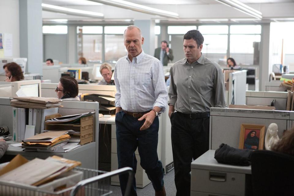 "Michael Keaton as Walter ""Robby"" Robinson and Mark Ruffalo as Michael Rezendes in ""Spotlight."""