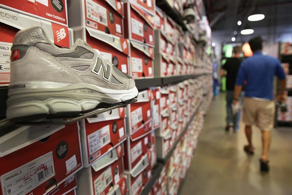 The men's gray 990 shoe was on display at the New Balance outlet in Brighton. The shoe has been popular for three decades.