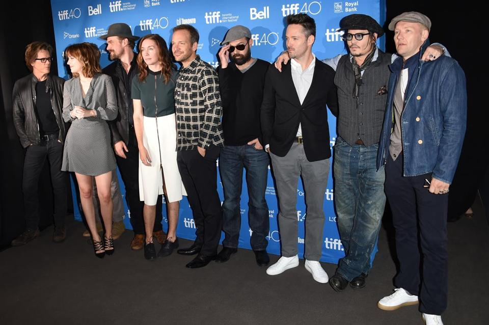 "Kevin Bacon, Dakota Johnson, David Harbour, Julianne Nicholson, Peter Sarsgaard, Rory Cochrane, Scott Cooper, Johnny Depp, and Joel Edgerton attended the ""Black Mass"" press conference at the Toronto International Film Festival."
