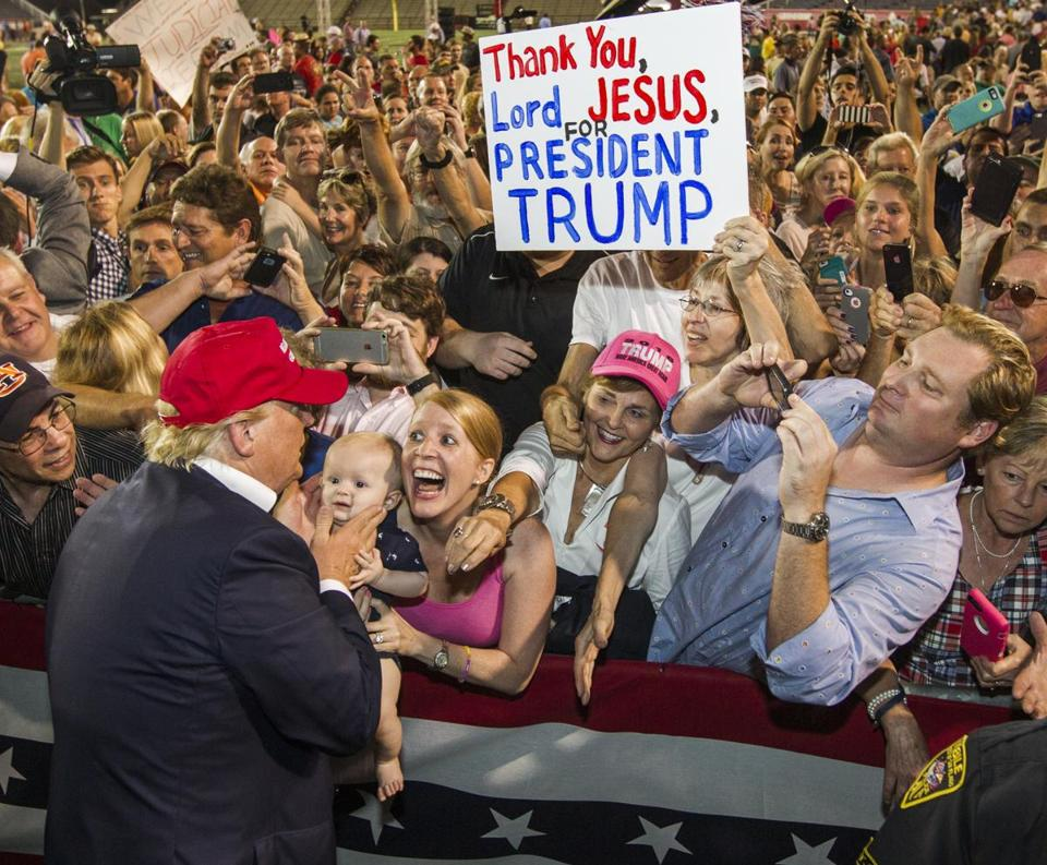 Donald Trump greeted supporters in Mobile, Ala., on Aug. 21.