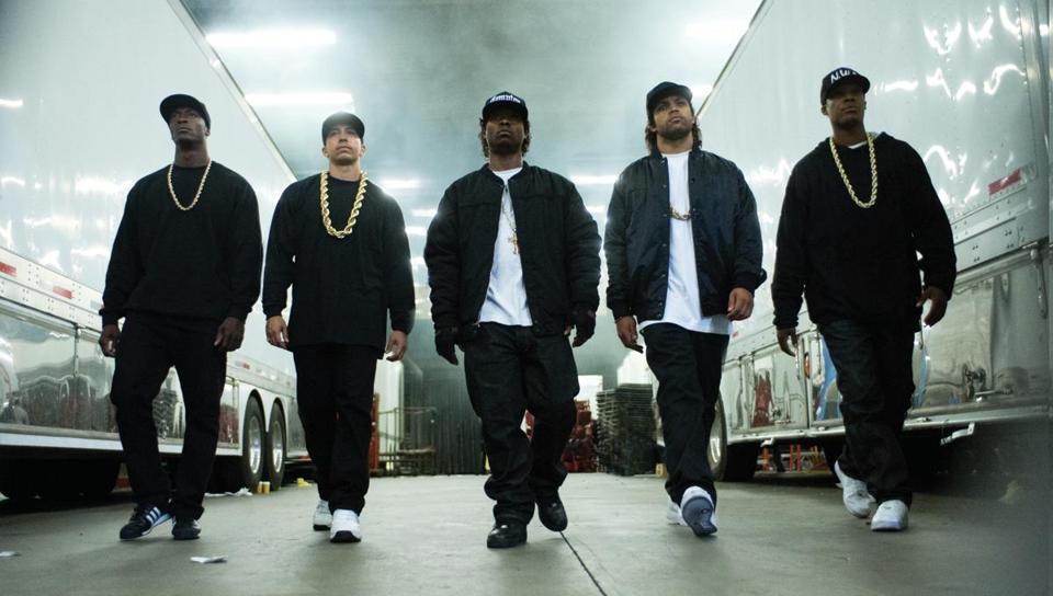 "(From left:) MC Ren (Aldis Hodge), DJ Yella (Neil Brown Jr.), Eazy-E (Jason Mitchell), Ice Cube (O'Shea Jackson, Jr.) and Dr. Dre (Corey Hawkins) in the 2015 film ""Straight Outta Compton,"" directed by F. Gary Gray."