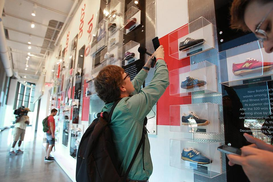Boston, MA., 09/17/15, A tour of New Balance's new headquarters on Guest Street. A large display of NB items overlooking the Mass Turnpike. Suzanne Kreiter/Globe staff