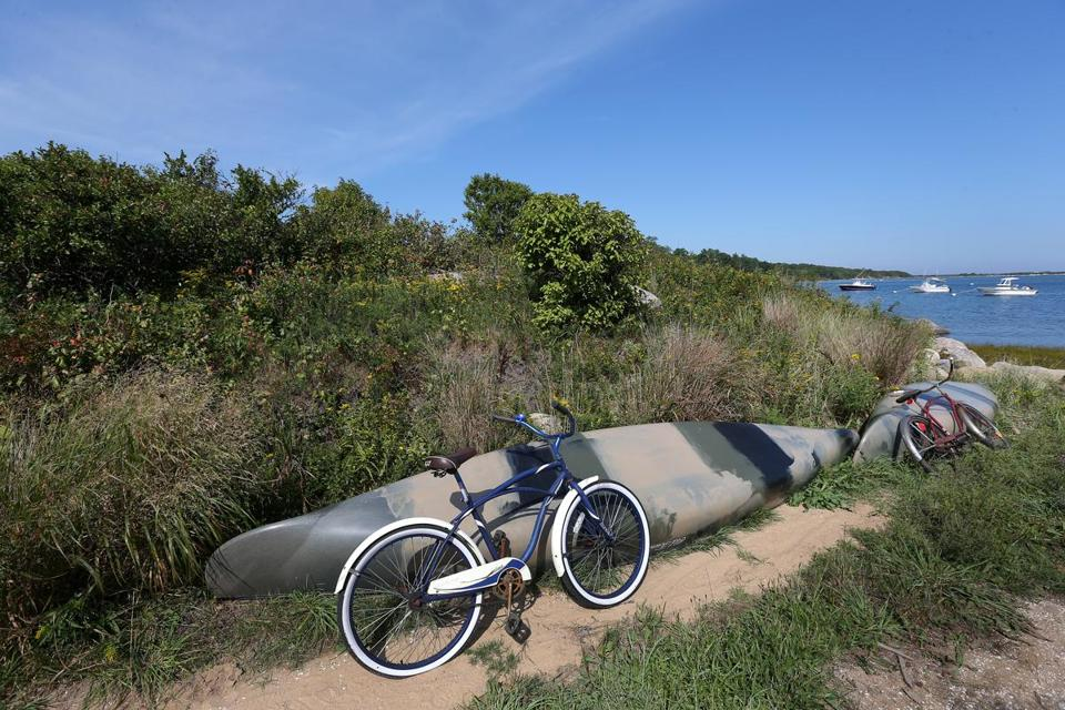 Aquinnah, MA - 9/17/2015: On Martha's Vineyard at Aquinnah ....... Aquinnah Wampanoag Tribal properties at Menemsha Pond. The odyssey of the Aquinnah, who once swore off a casino in return for their ancestral lands, but now want both. (David L Ryan/Globe Staff Photo) SECTION: METRO TOPIC xxaquinnah