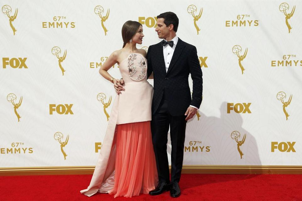 Emmys host Andy Samberg and his wife, Joanna Newsom, arrived at the 67th Primetime Emmy Awards in Los Angeles on Sept. 20.