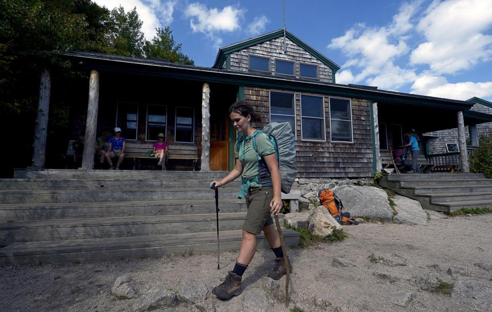 Nineteen-year-old Robyn Lewis of Hobart, Australia continues hiking a portion of the Appalachian Trail after taking a break at the Zealand Hut.