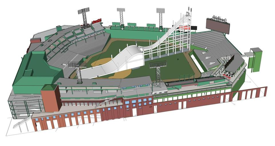 A rendering of how Fenway Park will be set up for a skiing and snowboarding big air competition at Fenway Park on Feb. 11-12, 2016. (Courtesy Elevate)