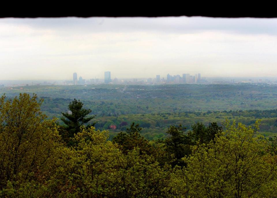 A view of Boston from Eliot Tower in the Blue Hills Reservation.