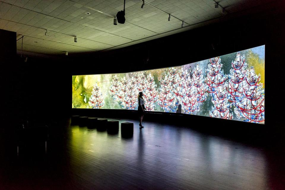 "Shahzia Sikander's digital animation ""Parallax"" at Tufts University Art Gallery includes surround sound."