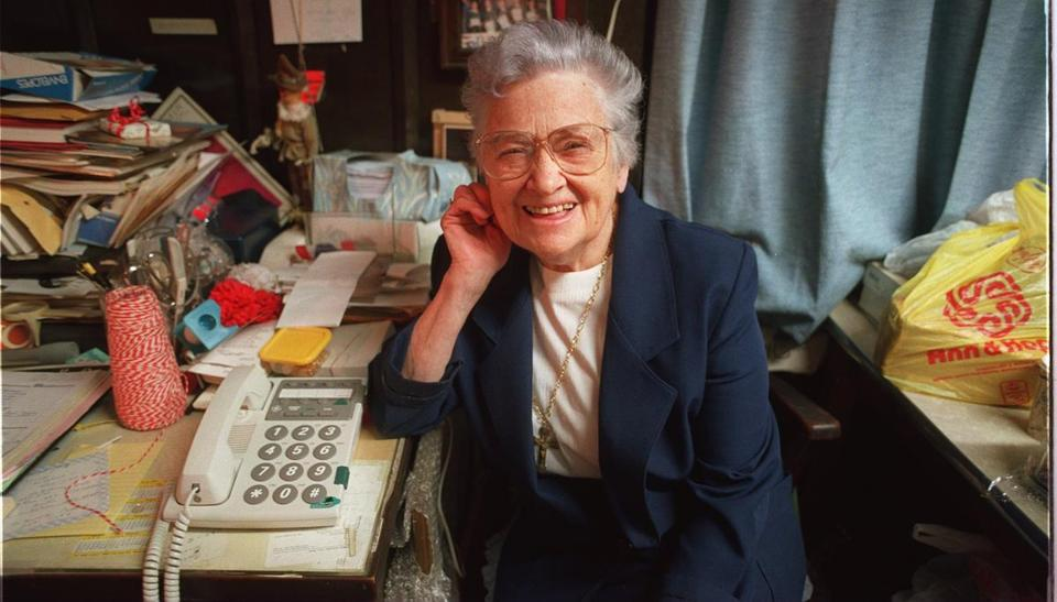 Sister Eustace Caggiano in her office at the Cardinal Cushing Resource Center in 1995.