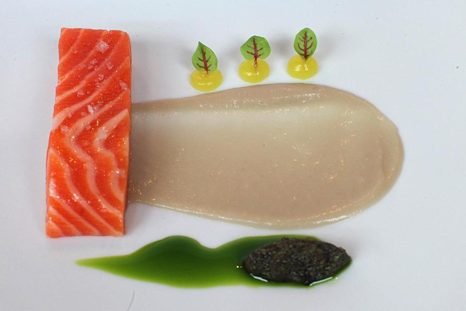 At Tasting Counter, ocean trout, shallot, basil, fermented soybean, and orange blossom.