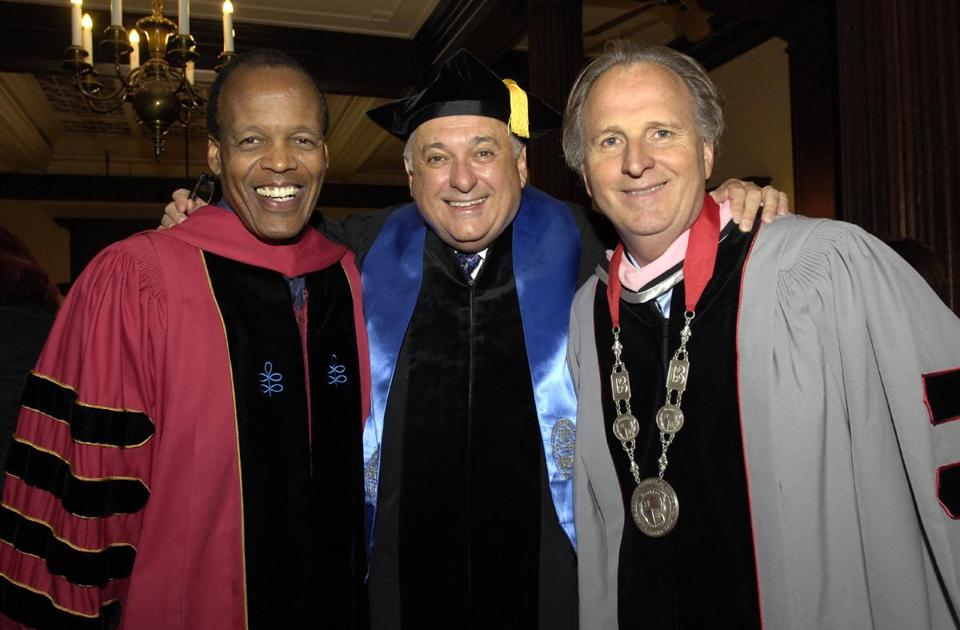 From left: Emerson College's Lee Pelton, the BAC's Glen S. LeRoy, and Berklee College of Music's Roger Brown.
