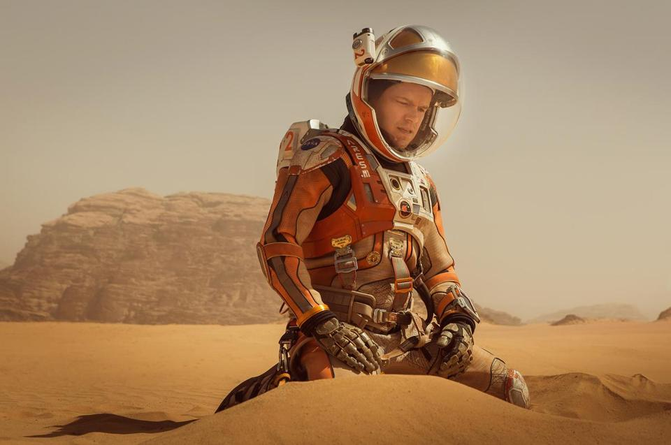 "Matt Damon in a scene from ""The Martian."""
